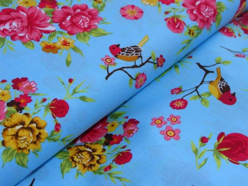 Bild 1 von birds and flower cotton fabric - 50 cm