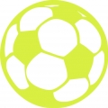 iron on patch - soccer ball - lime