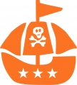 Bügelmotiv Piratenschiff orange