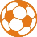 iron on patch - soccer ball - orange